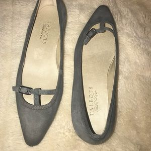Talbots Pointy Toe Gray Suede flats